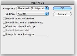 Opzioni formato EPS in Photoshop